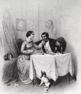 Erinnerung an das Ambiente bei einer Weinprobe zu zweit (Lithographie von Franz Teichel ca. 1845)