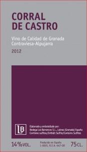 Etikett des Corral de Castro 2012